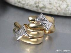 14k arany fülbevaló gyémánttal gyönyörű learazva