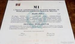 Okleveles Mezőgazdász Diploma 1947