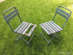 Régi retro vas csővázas összecsukható kerti szék
