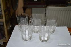 5 db csiszolt üveg pohár
