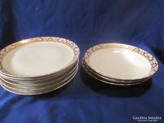 5 db lapos tányér  csodás aranyozással   A063
