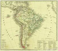 0L610 Antik acélmetszet térkép DÉL-AMERIKA