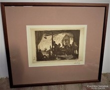 Rudnay Gyula (1878-1957) Kocsmarészlet rézkarc szignált