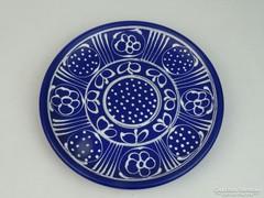 0L595 Jelzett kék kerámia falitál 24.5 cm