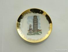 0L604 Pisai ferde torony porcelán tányér 8.5 cm