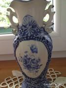 Füles kínai porcelán váza - kék színű dekorral  (21 cm)