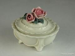 0L729 Régi rózsás ENS porcelán bonbonier
