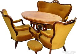 Biedermeier ebédlőasztal, két fotel szofa komplett garnitúra