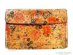 Régi festett bőr brifkó, virágmintás pénztárca