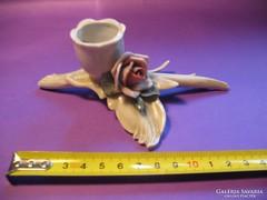 Német ENS porcelán rózsás asztali gyertyatartó 13,5 cm