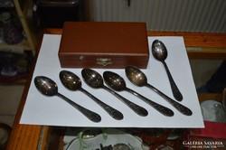 6 db szovjet ezüstözött teás kanál