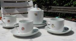 Retro virágmintás hollóházi kávés készlet darabok
