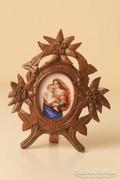 Mária gyermekkel tűzzománc medál faragott fa keretben, kép, grafika,festmény