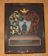 Antik családi címeres festmény