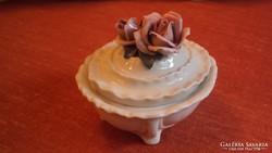 EREDETI -- ENS porcelán bonbonier rózsafogós tetővel.