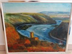 """Olaj-vászon festmény:""""Dunakanyar"""" Hirsch 83 jelzés"""