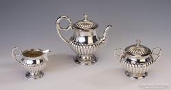Ezüst 4 darabos art deco teás- kávéskészlet