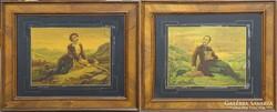 0L803 Vörösmarty és Petőfi színezett üvegkép pár
