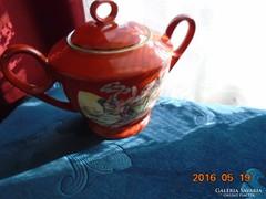 Kínai porcelán cukortartó Szecessziós hölgy minta