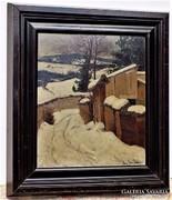 Aradi Edvi Illés Jenő (1886-1962) Havas tájkép olajfestmény