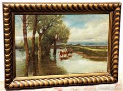 Benes Pál (1867-1932) Itatás c.Antik olajfestmény 1925-ből EREDETI GARANCIÁVAL