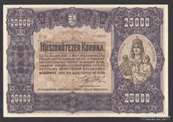 25000 korona 1922. Sötét barna sorozat, és sorszám! EF++!