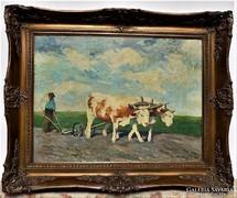 Magyar festő(lásd szignó) 1920 körül szántás 100x80cm
