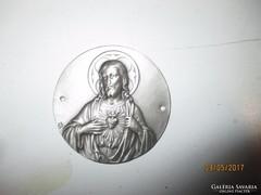 Jézus szíve / ezüstszínű fém plakettszerű, kör alakú