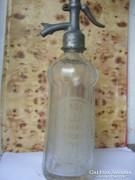 Antik szódás üveg ón fejjel bordás üveg eladó