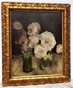 Antik Magyar festmény (lásd.szignó) Virágcsendélet 1900 körü
