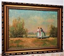 Pádly Aladár (1881-1949) TápéiLányok 100x80cm Antik festmény