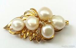 Gyönyörű 14K arany medál gyöngyökkel és gyémántokkal