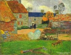 0L915 Paul Gauguin Le toit bleu or Ferme au Pouldu