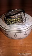 Egyedi, gyönyörű ródiumozott ezüst gyűrű peridot és topáz kő