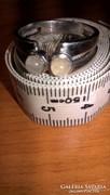 2 db szivárvány holdköves masszív, ródiumozott ezüst gyűrű