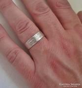 Elegáns antik vastag ezüst uniszex karikagyűrű