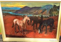 Schey Ferenc(1925-1997)Dunakanyar ménes 86x66cm Képcsarnokos