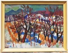 Doór Ferenc(1918-) Tájkép 86x66cm Képcsarnokos olajfestménye