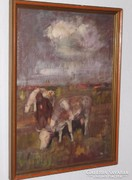 Tóbiás György festmény 74 cm X 54 cm