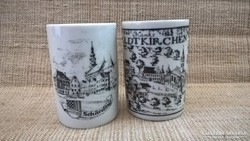 Porcelán krémes tégely 2-db