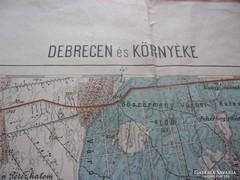 Térkép Debrecen és környéke 60 x 50 cm antik