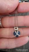 925-ös ezüst,nyaklánc kék szív medállal