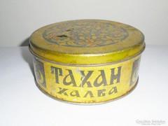 Régi fémdoboz pléh doboz - Tahan Halva Orosz Bulgár édesség