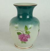 0L842 Régi virágos Hollóházi porcelán váza 14 cm