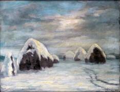 0L873 Ismeretlen festő : Havas szénaboglyák 1952