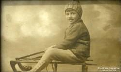 0L874 Régi művészi szánkós fotográfia 1928