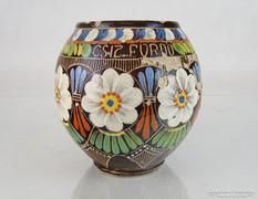 0M075 Antik hajszálvékony felvidéki cserép váza