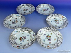 0F041 Antik finom porcelán vitrindísz tányér 6 db