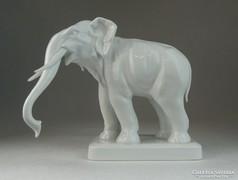 0K206 Régi fehér herendi porcelán elefánt