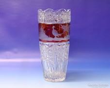 0K228 Antik színes hibátlan kristály váza 25.5 cm